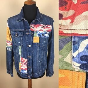 Gap distressed patchwork jean jacket size M